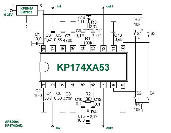 Схема блока тембров на микросхеме КР174ХА53